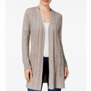 Karen Scott Macys Plus Pointelle Open Cardigan NWT